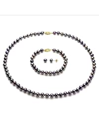 """14k Yellow Gold 6-6.5mm Freshwater Cultured Pearl Necklace 18"""" , 7"""" Bracelet and Stud Earrings Set"""