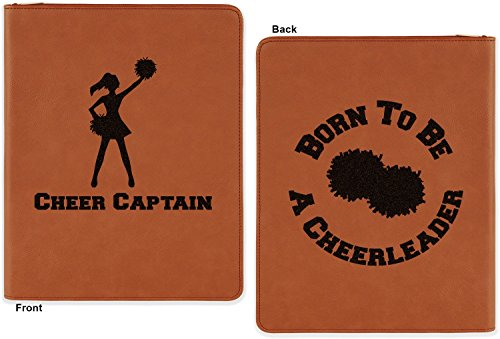 Cheerleader Leatherette Zipper Portfolio With Notepad Double Sided Personalized