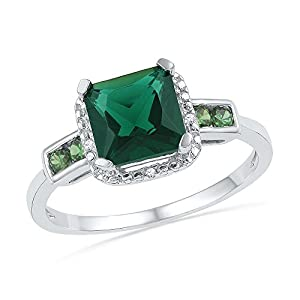 Size - 10 - Solid 10k White Gold Princess Cut Round Green Simulated Emerald And White Diamond Engagement Ring OR Fashion Band Prong Set Solitaire Shaped Halo Ring (.01 cttw)