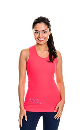 NEVA Wear Ethical Women's Activewear Long Length Supportive Racerback Tank Tops (Medium, Long Luxe Tank, Coral)