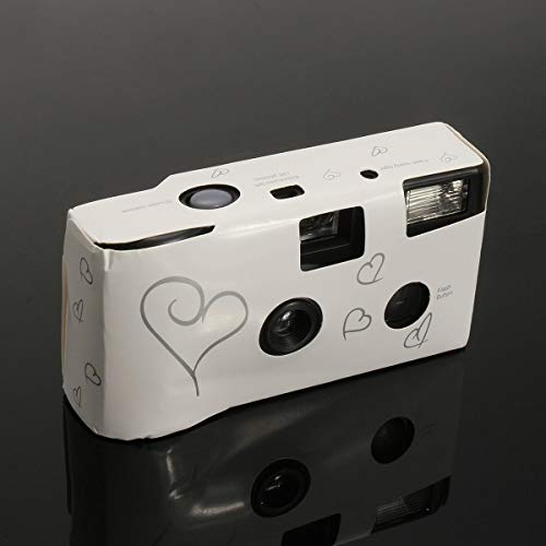 Hearts Disposable Camera with Flash 36exp for Bridal Wedding Party – Digital Cameras Mini Cameras- 1 x Disposable Camera
