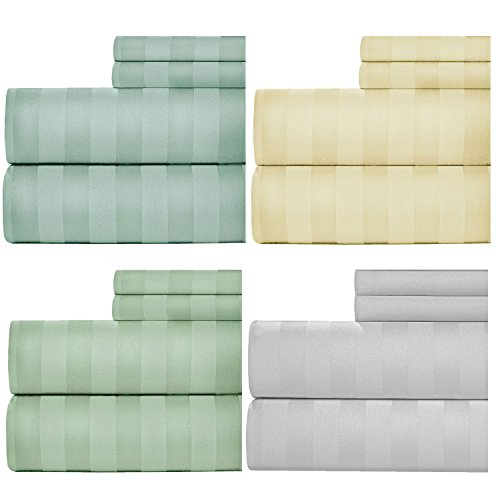 (Aspire Linens 1000 Thread Count Damask Stripe Sheets, Dobby Bed Sheets Set (4 Pieces Set) - Cotton Rich - 15 inch Fully Elasticized Deep Pocket Fitted Sheet - King - Ivory by Weavely)