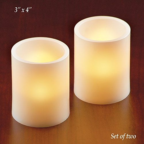 LED Flat Top Candles Beige