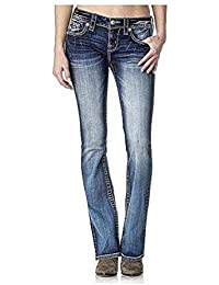 Women's Lace Embellished Flap Pocket Boot Cut Denim Jean