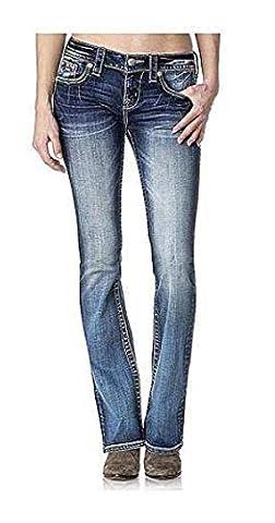 Miss Me Women's Lace Embellished Flap Pocket Boot Cut Denim Jean, Medium Blue, 26 - Sequin Pocket Jean