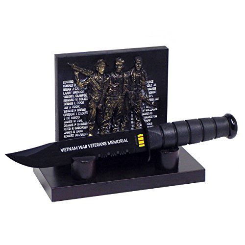 Vietnam War Veterans Memorial Plaque and Survival Knife