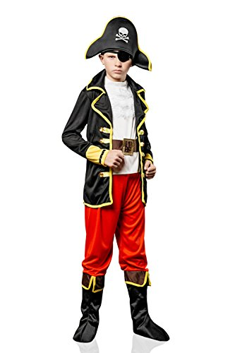 Kids Boys Regal Pirate Halloween Costume Buccaneer Captain Dress Up & Role Play (8-11 years, black, white, red,