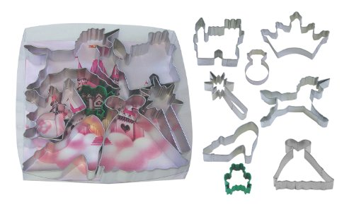 - R&M International 1819 Little Princess Cookie Cutters, Crown, Unicorn, Wand, Slipper, Gown, Ring, Frog, 8-Piece Set