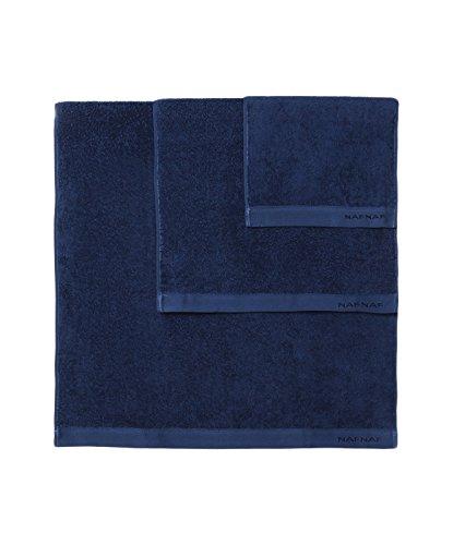 Naf Naf linge de maison Set Toalla 3 Uds. Casual Azul Oscuro 30 x 50+50 x 100+70 x 140 cm: Amazon.es: Hogar