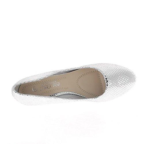 Versatz bei 7cm Aspekt glänzende Schlange Ferse Frau grau silber