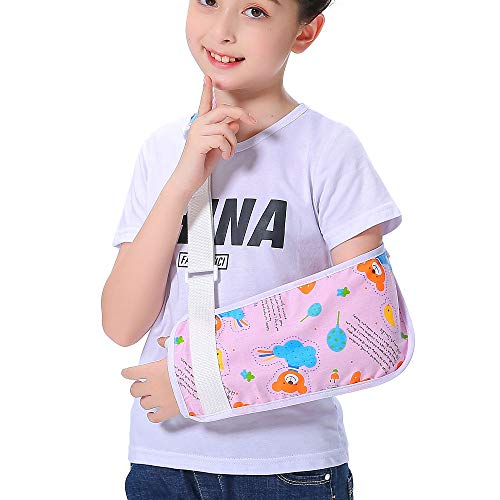Kids Arm Sling for Girls Pink Bear Shoulder Sling Pretty Fashion Cute Colorful Pattern Children Child Padiatric Toddler Arm Sling Medical Left Right Arm Support Rotator Cuff Brace for Broken Arm (S)