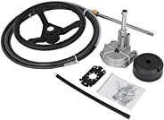 """VEVOR Outboard Steering System 12' Outboard Steering System with 13"""" Wheel Durable Marine Steering Sy"""