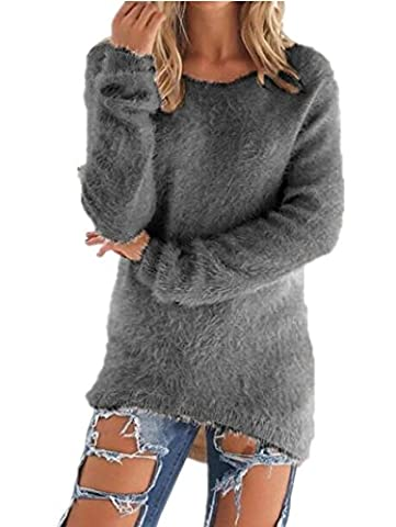 Sorrica Women's Casual Knit Pullover Loose Fluffy Fuzzy Jumper Sweater (US 14, Grey)