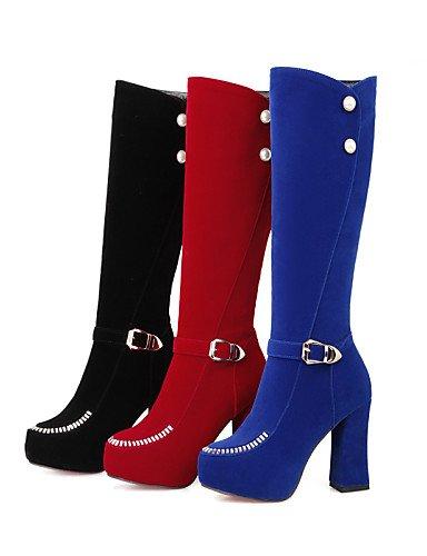 Cn36 A De Negro Azul 5 Xzz Zapatos Mujer Tacón Eu42 us10 Vestido Uk8 Punta Uk4 us6 Vellón Casual Royal Blue Cn43 5 La Plataforma Rojo Botas Red Moda Redonda Eu36 Robusto zwwZqa5A