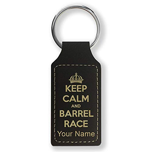 Rectangle Keychain, Keep Calm and Barrel Race, Personalized Engraving Included (Black with Gold)