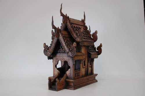 Thailand: Spirit House (Large Sized) 17 x 13 x 9 inches, Hand Made Wood Carving Thai Vintage Design By Conserve Brand. by Conserve Brand