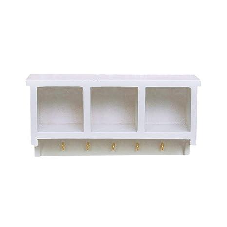 mi ji 1:12 Scale Dollhouse Kitchen Estantería de pared de madera con ganchos Miniatura Toy-White para niños
