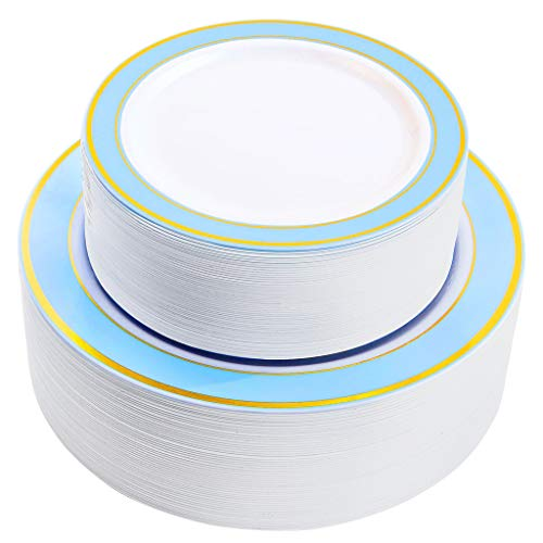 NERVURE 102 PCS Blue with Gold Rim Disposable Plates-Wedding and Party Plastic Plate Include 51PCS 10.25inch Dinner Plates and 51PCS 7.5inch Dessert/Salad Plates - Value Pack 102 ()