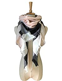 Women Winter Shawl Lattice Large Plaid Blanket Scarfs Wrap Gift for Girl (C-Pink grey)