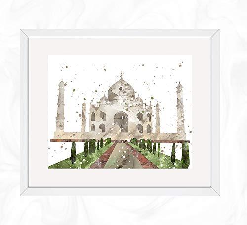 Taj Mahal Prints, World Wonders Watercolor, Nursery Wall Poster, Holiday Gift, Kids and Children Artworks, Digital Illustration Art