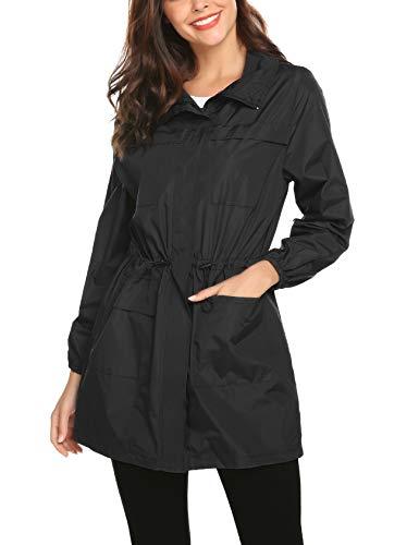 (ZHENWEI Womens' Waterproof Lightweight Raincoat Hooded Outdoor Hiking Long Rain Jacket (Black(Type 2), L))