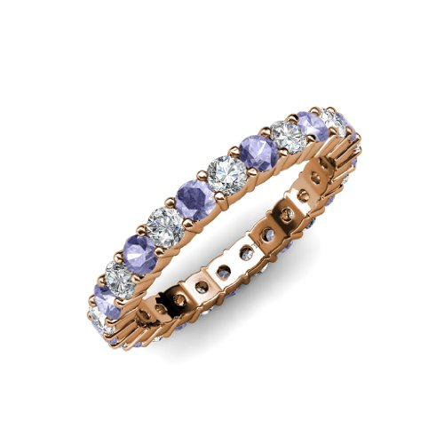Tanzanite and Diamond Common Prong Eternity Band 1.90 ct tw to 2.28 ct tw in 14K Rose Gold.size 8.5 (Band Tw Eternity Diamond 2ct)