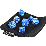 Blue Marble Polyhedral Dice Set   7 Piece   PRISTINE Edition   FREE Carrying Bag   Hand Checked Quality