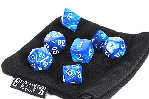 Dice Display (Blue Marble Polyhedral Dice Set | 7 Piece | PRISTINE Edition | FREE Carrying Bag | Hand Checked Quality)