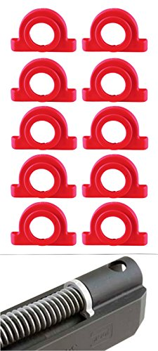 Ultimate Arms Gear Pack of 10 Red Recoil Impact Cushion Shock Absorber For Glock Pistol Models : 17, 17L, 18, 19, 20, 21, 22, 23, 24, 24C, 31, 32, and - Plug Recoil Spring