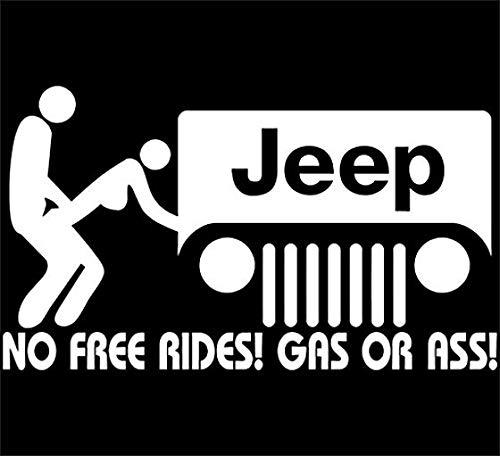 YWS Vinyl Sticker Decal - Jeep No Free Rides - Sticker Laptop Car Truck Window Bumper Notebook Vinyl Decal SMA6918