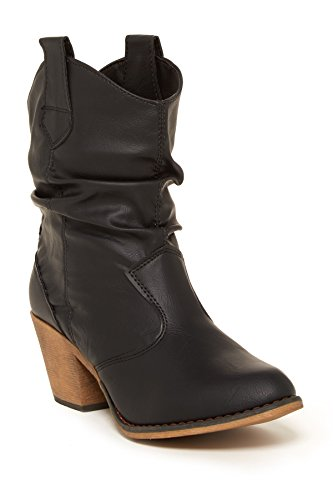 Charles Albert Women's Modern Western Cowboy Distressed Boot with Pull-Up Tabs in Black Size: 8 -