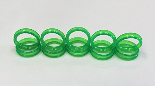 10 Green Barber Hair Shears Scissors Finger Rings Grips Inserts 5 Sets- 5 Large + 5 Small, Soft Rubber Ring Sizer (Insert Green)