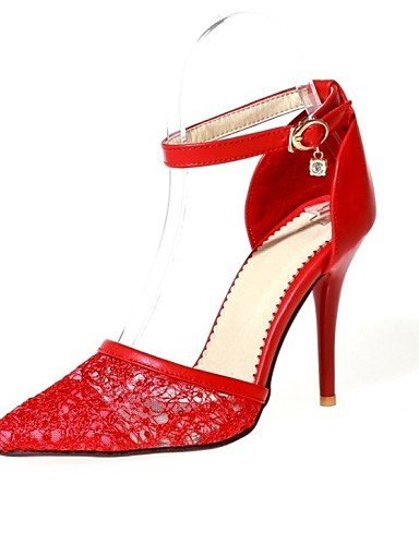 Leatherette Shoes Shangyi Wedding Dress amp; Black Heels Red Women's Heel White Pointed Toe Stiletto Party Evening SUnafg