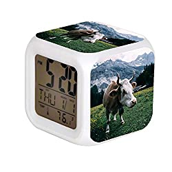 Aekdie LED Alarm Colock 7 Colors Changing Digital Desk Gadget Digital Alarm Thermometer Night Glowing Cube led Clock Home Children's White and Brown Cow Near Mountain During Daytime
