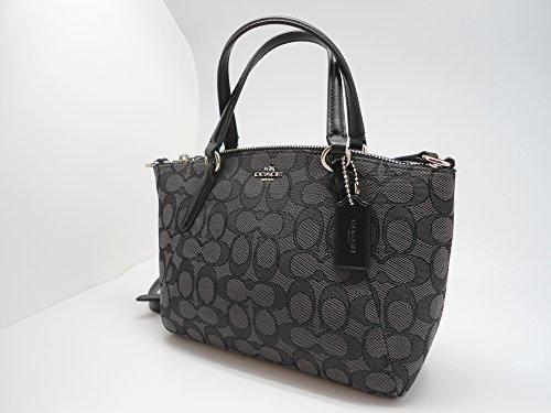 Outline Kelsey Satchel Bag Signature F57830 Coach Crossbody Black Black Mini Smoke 6nx5ZnSq