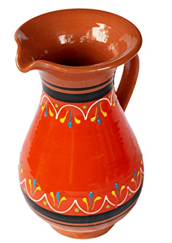 Terracotta Orange, 2 Quart Pitcher - Hand Painted From - Terra Mexican Cotta