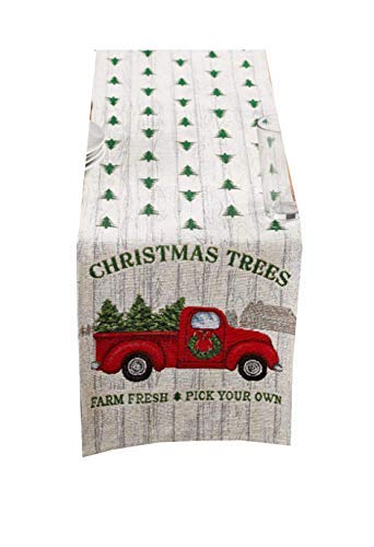 Winter Wonder Christmas Table Runner Retro Red Pickup Truck with Christmas Trees 13 x 72 -