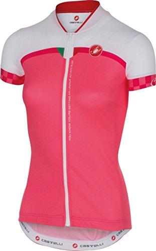 Castelli Womens Duello Full Zip Short Sleeve Cycling Jersey - A16056 (Pink - S)