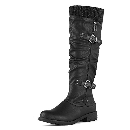 09 Boots - DREAM PAIRS Women's Depp Black Knee High Boots Size 9 B(M) US