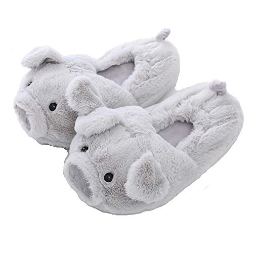 Millffy Funny Womens Warm Animal Slippers Funny Slippers Furry Pink Pig Slippers House Shoes (Women US 8-10, Grey with Heel)
