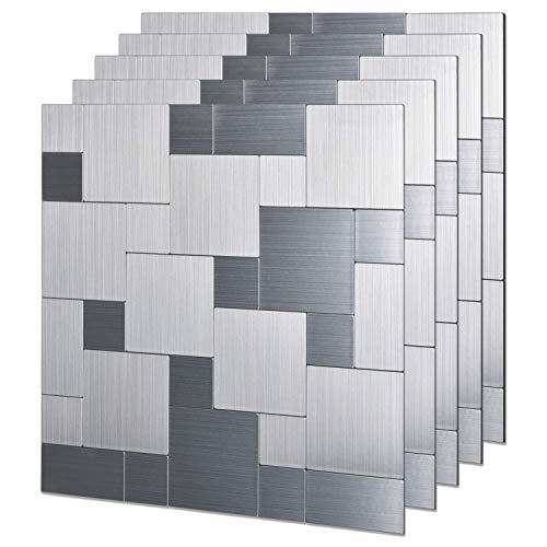 LONGKING LK 5pcs Premium Self-Adhesive Metal Tiles - Peel and Stick Backsplash Tiles for Kitchen (LKB6203, 12x12, Silver)