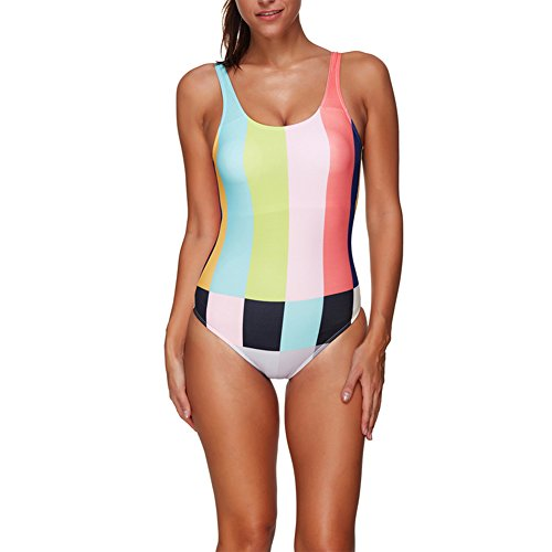 Women's Contrast Color One Piece Swimwear Sexy Backless Swimsuit Size M