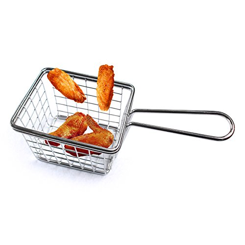 Molie Stainless Steel Square Fried Basket, Fries Holder, Stainless Steel Filter Fryer, Cooking Tool Mini Strainer Fries Food Frying Basket