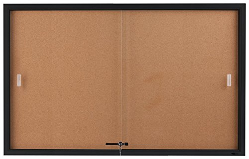 (Displays2go 5 x 3 Feet Enclosed Sliding Door Cork Bulletin Board, Self-Healing Corkboard Display Surface, 60 x 36 Inches Notice Board for Wall Mount with Mounting Hardware, Aluminum Frame, Black)
