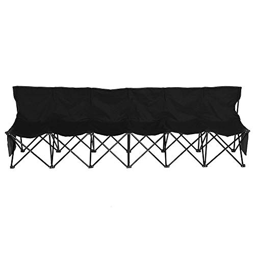 Yaheetech 6 Seats Portable Sideline Folding Bench Soccer Team Bleacher Chair Outdoor Sports Black W/Carry ()