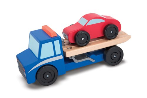 Melissa & Doug Flatbed Tow Truck Wooden Vehicle Set (Tow Flatbed Truck)