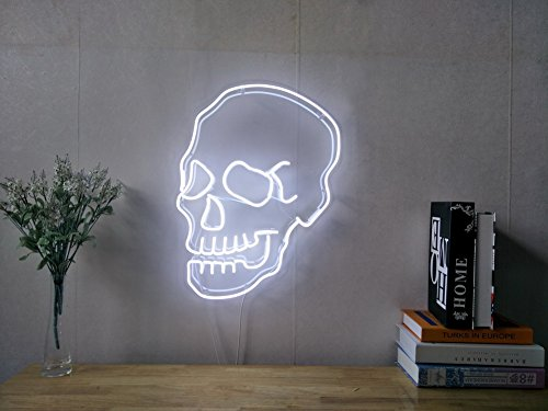 Skull Real Glass Neon Sign For Bedroom Garage Bar Man Cave Room Home Decor Handmade Artwork Visual Art Dimmable Wall Lighting Includes ()