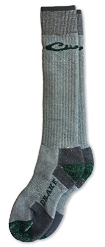 Drake 80% Merino Wool Heavyweight Cold Weather Tall Boot Socks 1 Pair (Grey/Green, Men's Shoe Size 9-13 - Sock Size - Heavyweight Boot Weather Sock Cold