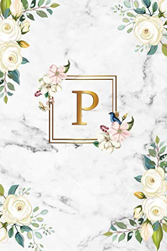 - P: Cute Initial Monogram Letter Z College Ruled Notebook. Nifty Personalized Name Journal & Diary with Medium Lined Pages for Girls and Women - Cute White Marble & Gold Roses Floral Print