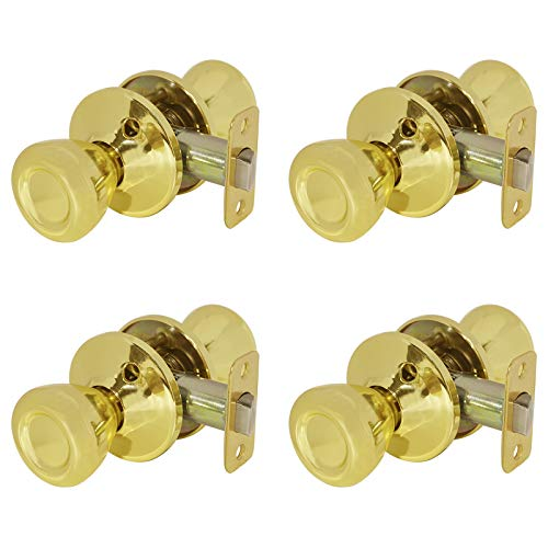 Passage Door Knobs in Polished Brass,Hall and Closet Doorknobs Interior,4 Pack Tulip Door Lock Handle Gold,Home Hallway or Closet Passage Hardware Pantry Door Handle by Goldentimehardware